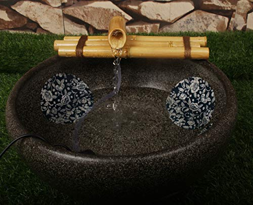 Bamboo Water Fountain Medium 12 Inch Three Arm Style without Pump, Indoor or Outdoor Zen Garden Decor Fountain, Natural, Split Resistant Bamboo, Combine with Any Container to Create Your Own Fountaion