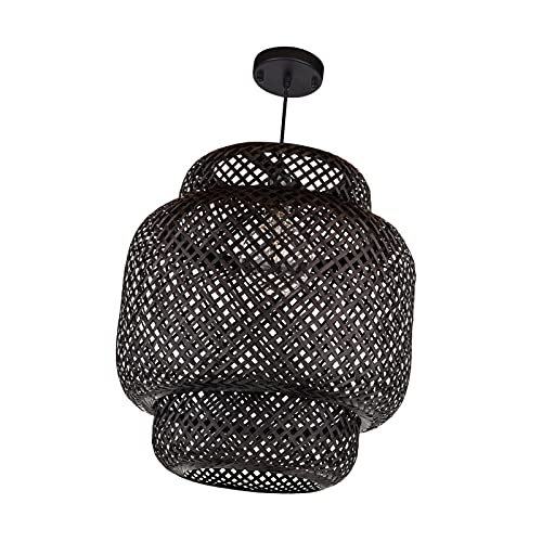 MagiDeal Lámpara de Mimbre de ratán Cortina de luz de Decoración Retro para lámpara de Mesa Moderna Hecha a Mano Tejida Cubierta de luz de Suelo para