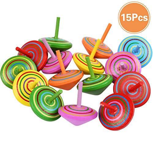 YANSHON 15 Stück Kreisel aus Holz, Bunte Holzkreisel, Spielzeugkreisel Kinder, Kindergeburtstag Gastgeschenke, Farbmischung