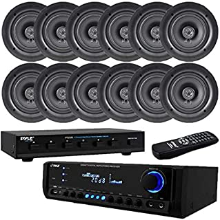 Pyle 6 Pair High Power Stereo Speaker Selector 300 Watt Digital Home Theater Stereo Receiver, Aux (3.5mm) Input, MP3/USB/AM/FM Radio, (2) Mic Inputs 5.25