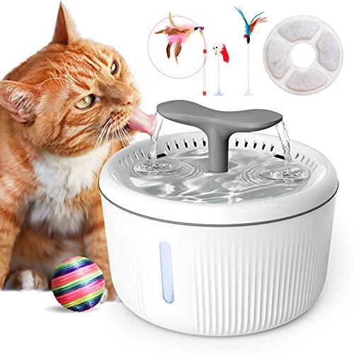 PewinGo Fontaine pour Chat Chien, 2L Silencieuse Fontaine à Eau pour Chats avec LED Fenêtre de Niveau d'eau et Filtre à Charbon Actif -4 Jouets