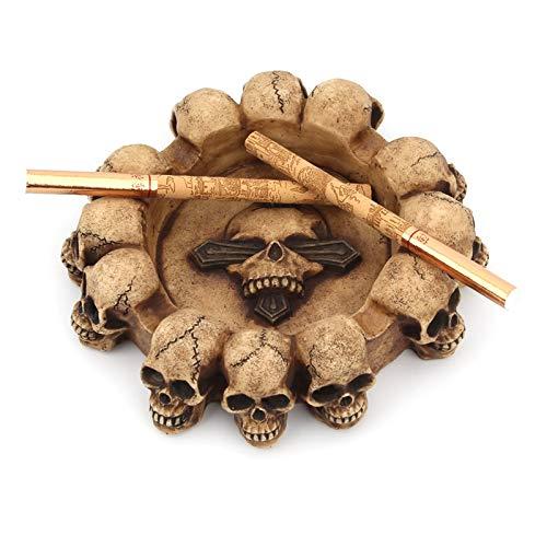 Portavasos Esqueleto cabeza resina cenicero cráneo fantasma belleza estatua artesanía cenicero tabaco ceniza caja escultura estatua cigarrillo ceniza contenedor