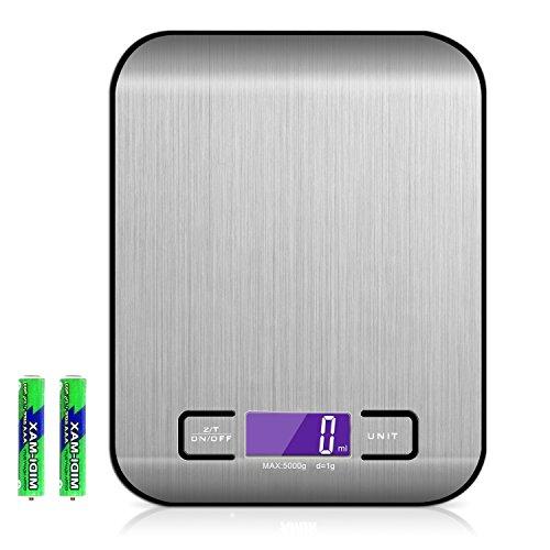 CENT Báscula Electrónica Digital de Cocina Herramienta de Medición Balanza de Alimentos Multifuncional Acero Inoxidable Fácil de Limpieza Antideslizante Dispositivo 5kg / 11lbs