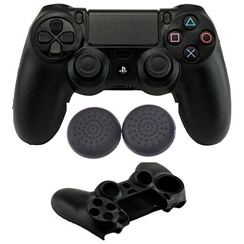 Microware PS4 Playstation Controller Silicon Skin Sleeve Grip With Thumb Grip Cover Black