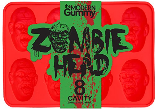 Zombie Head Candy Mold by The Modern Gummy, SILICONE, 8 Realistic Cavities per Mold, For Gelatin, Chocolates, Cupcake Toppers, Halloween, Zombie Party