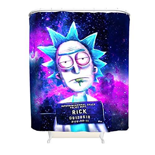 WellWellWell Rick Eyes Lethargische Galaxie Space Rick & Morty Duschvorhang Mit Haken Badvorhang-Set Waschmaschinenfest White 180x180cm