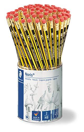 Staedtler 122 KP72 Noris Bleistift HB mit Radiertip, 72 Stück im Köcher-Display