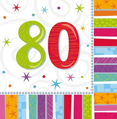 amscan International Lot de 16 Serviettes de Table en Papier pour fête d'anniversaire thème Anniversaire Radieux 80 Ans