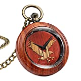 LOPIXUO Reloj de Bolsillo de Madera Creativo Cuarzo Relojes de bambú de Madera Natural Eagle DeerFob Cadena Colgantes Reloj Reloj de Bolsillo, águila