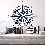 YuanMinglu Cartel de Arte náutica Rosa de los Vientos Etiqueta de la Pared Desmontable Dormitorio Sala de Estar decoración del hogar Azul 57x57