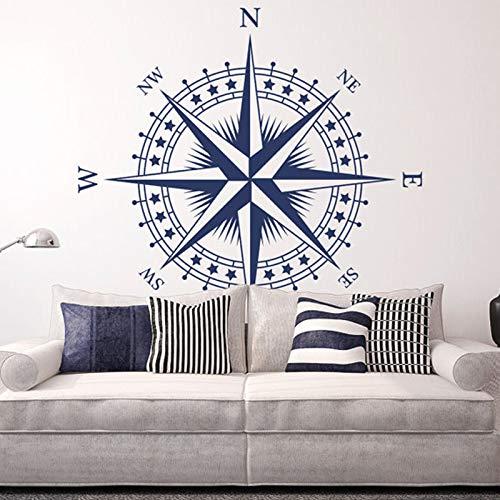Cartel de Arte náutica Rosa de los Vientos Etiqueta de la Pared Desmontable Dormitorio Sala de Estar decoración del hogar Azul 57x57