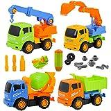 deAO Camiones de Construcción para Montar y Desmontar Conjunto de 4 Camiones - Vehículos de Montaje Incluye Camiones y Destornillador (Multicolor)