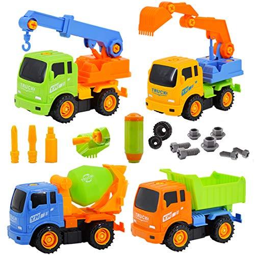 deAO Camiones de Construcción para Montar y Desmontar Conjunto de 4 Camiones -...