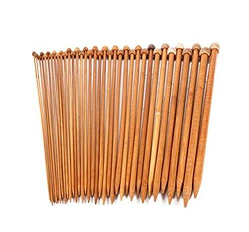 Demarkt 18 Paires Aiguilles Bambou a Tricot Laine 2-10 mm /Longueur 35cm