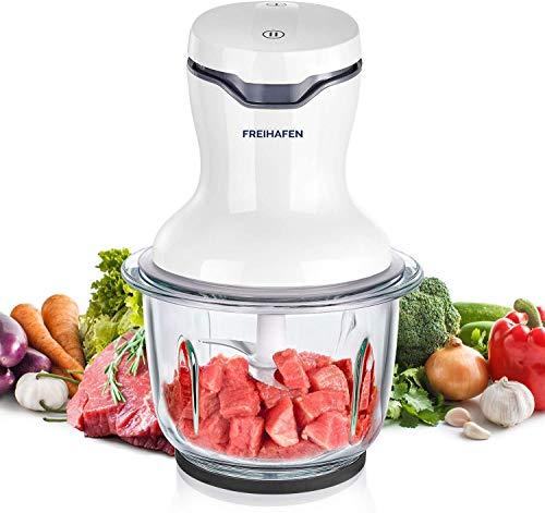 Freihafen Zerkleinerer Küche Elektrisch, 500W Universalzerkleinerer mit 1L Glasbehälter, Multizerkleinerer mit 4 Edelstahlmesser und 2 Geschwindigkeitsstufen für Fleisch, Obst, Gemüse, Babynahrung