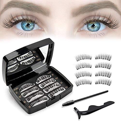 Magnetische Wimpern, 3D Wimpern Magnetisch Künstliche Wimpern, Magnet Wimpern Magnetwimpern Falsche Wimpern Edelstahl Pinzette, 8 Stücke (4 Paare)