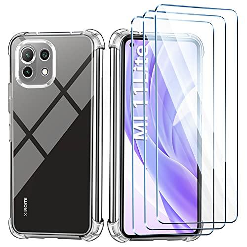 LeathLux Funda para Xiaomi Mi 11 Lite 5G&4G,3 Piezas Cristal Templado Protector de Pantalla, Ultra Fina Transparente Suave Silicona TPU Carcasa y Dureza 9H Antiarañazos Vidrio Templado