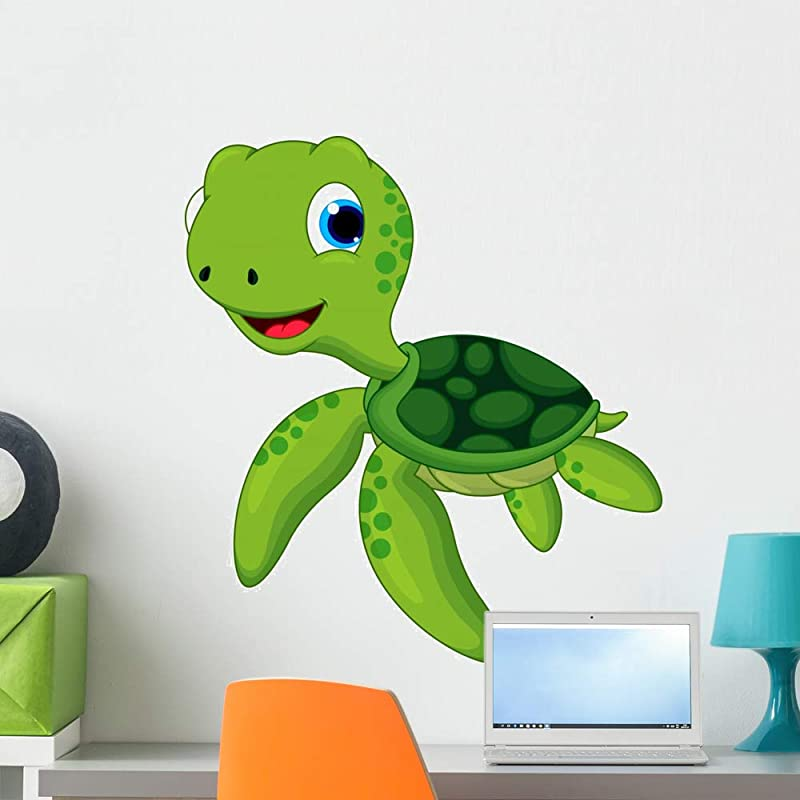 Wallmonkeys Happy Turtle Cartoon Wall Decal Peel And Stick Animal Graphics 24 In H X 22 In W WM252433