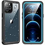 """SPIDERCASE Designed for iPhone 12 Pro Max Case, Waterproof Built-in Screen Protector, Shockproof Full Body Cover Rugged Case for iPhone 12 Pro Max 6.7"""" 2020 Released, Blue/Clear"""