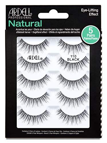 ARDELL 5 Pack Natural 110, Black, 25 g, das Original - Wimpern aus Echthaar, schwarz, black (ohne Wimpernkleber) ultraleicht, flexibel und wiederverwendbar