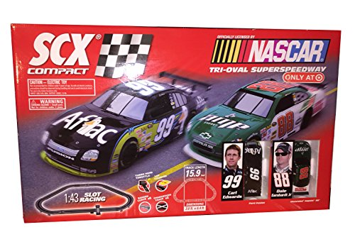 SCX Compact NASCAR Tri-Oval 15.9 Foot Tri-Oval SuperSpeedway 1:43 Slot Racing Set featuring Car 99 Carl Edwards and 88 Dale Earnhardt Jr.