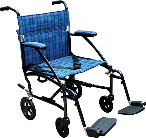 professional Drive Medical Fly Lite Ultralight Transport Wheelchair, Blue Frame, 17 lbs, 19 Inches