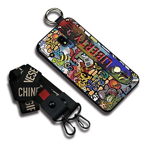 Lindo diseñador Lulumi Funda de teléfono Compatible con Samsung Galaxy J7 2018/J6 US, Soporte de diseño de Moda, a Prueba de Golpes, Duradero, con Soporte de TPU, Suave, Colorido Liberty Graffiti