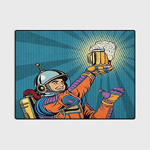Astronaut Kids Rugs Door Rug Colorful Astronaut Holding Beer Thirsty for Beer Long Voyage Retro Style Drawing Kids Room Carpets Cute Children Play Mat Multicolor 4 x 6 Ft