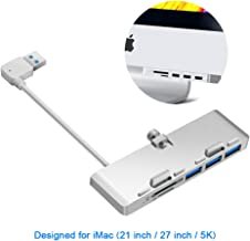 Rocketek iMac Hub Aluminum 3-Port USB 3.0 Hub Adapter with SD & Micro SD Card Reader Combo - Compatible with 2017 iMac and iMac Pro (Silver)