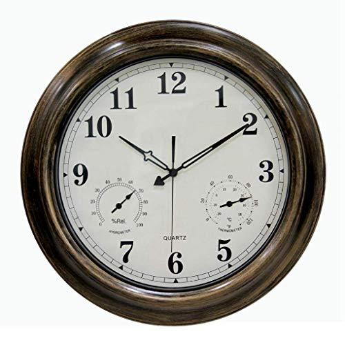 SHJMANPA Uhren Außen Wasserdicht, Metall Runde Außenuhren Für Den Garten Wandmontage Wasserdicht Und Feuchtigkeitsbeständig Außenuhr