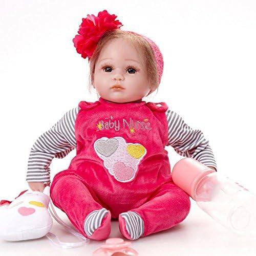 SHTWAD Silikon Reborn Baby Puppe Tuch   Nette Augen Ge net Realistische Kind Spielzeug Und Geschenk 42cm