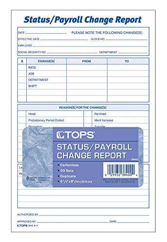 TOPS Status do funcionário/relatório de mudança de folha de pagamento, 2 partes, sem carbono, 50 ST/PK (3840) - Branco/Canário