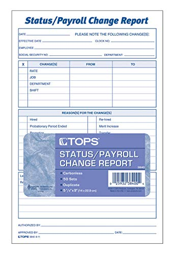 TOPS Employee Status/Payroll Change Report, 2-Part, Carbonless, 50 ST/PK (3840)