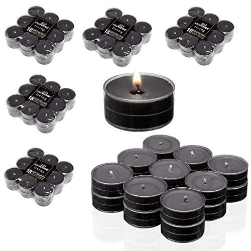 Smart Planet 90 Stück Kerzen Ambiente Teelichter - 5 x 18er Flatpack Duftteelichte Black - Teelicht schwarz in transparenter Hülle - Duftkerze