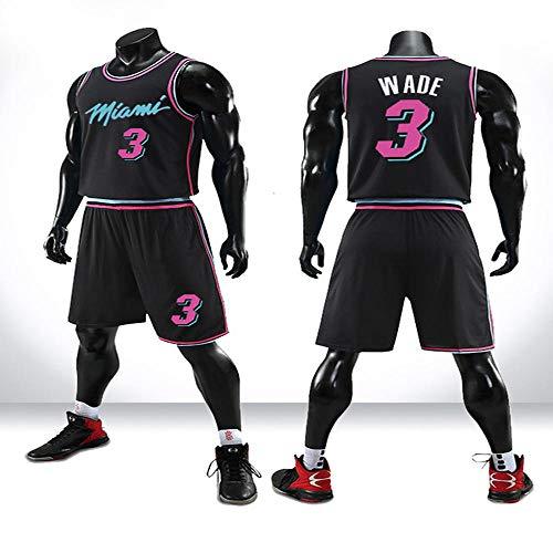 LHDDD NBA Baloncesto Uniformes Impresión Personalizada, Wade Heat 3 City Edition, Jersey Vest Competition Sudadera Transpirable Camiseta Deportiva de Verano Black-XXXXXL