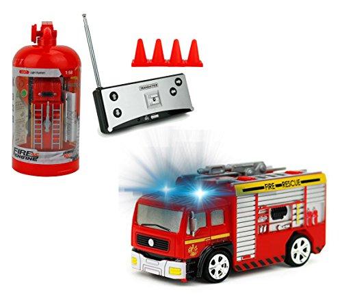 Brigamo Mini RC Feuerwehrauto mit Blaulicht, Ferngesteuertes Auto im Deko Feuerlöscher, Feuerwehr Löschfahrzeug, Feuerwehr Fans (27 MHz)