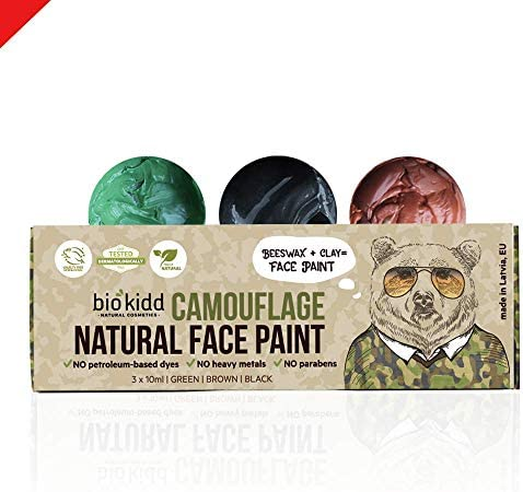 BioKidd Natural Face Body Paint Army War Camo Ghillie Cream Kit Non Toxic Camouflage Face Painting product image