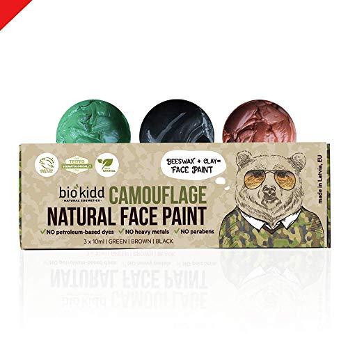 BioKidd Pinturas Cara Naturales de Camuflaje para Pieles Sensibles No Tóxicas - Set de Pinturas Facial - para la Caza del Maquillaje Formación Militar - 3 Colores (Verde, Marrón, Negro)