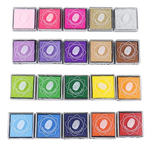 SM SunniMix Craft Ink Pad Stamps Partner DIY Color, 20 Colores Rainbow Finger Ink Pad para niños, Paquete de 20