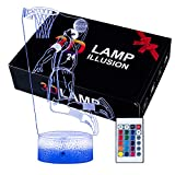 Kobe Bryant 3D Illusion Lamp with 16 Colors Changing Touch Switch and Remote Control Kobe Bryant Basketball Night Light Best Gifts for Kids or Basketball Sports Fans on Birthdays or Christmas