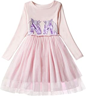 Long Sleeve Unicorn Dress for Baby Girl Clothes,Tutu Party Dresses for Girls 2-7 Years