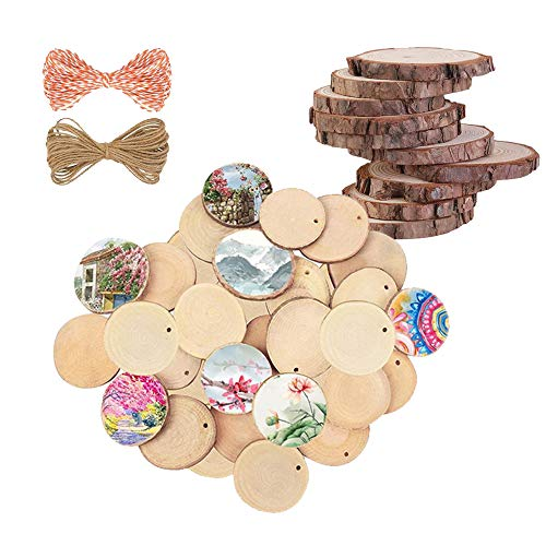 Natural Wood Slices 30PCS Wood Disc 3 Different Size Unfinished Log Wooden Circles for Art Crafts Wall Decor Wedding Christmas Decoration Ornaments (3 Sizes Each 10 pcs)