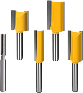 Sponsored Ad – Router Bit Set 1/4 inch Straight Router Bit 5pcs Double Flute Woodworking Milling Cutter Top Bearing Trim P...