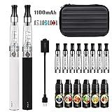 VOVCIG Cigarrillo Electronico eGo-T CE4 con doble kit de iniciación, batería recargable de 1100mAh, 4X Vaporizador de 1,6ml + 2x 10ml set E-Líquido 0,00 mg Nicotina