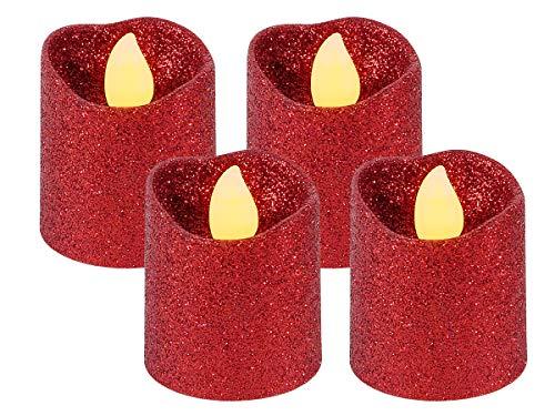 Alsino LED Teelicht flammenlose Teelichter Kerze rot Glitzer 120 Stunden Brenndauer inklusive Batterien TL-11, wählen :4 Stück