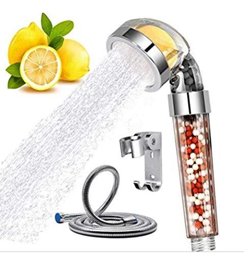YNHNI Cabezal de Ducha Manual duchas de presión de Ahorro de Agua de Ducha Cabezal de Filtro Varita con Citrus Olor Vitamina C Suaviza Eliminar el Cloro del Agua Dura de Ducha (Color : Shower Set)