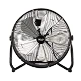 Comfort Zone CZHV20S High-Velocity Industrial 3-Speed Black Slim-Profile Drum Fan with Aluminum Blades and...