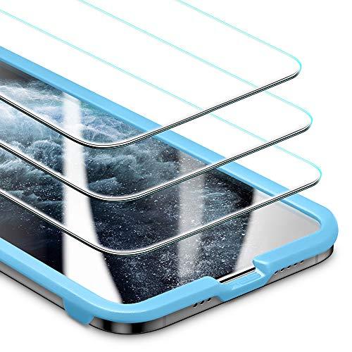 """ESR Protector de Pantalla de Cristal Templado para iPhone 12 / iPhone 12 Pro[3 Unidades] [Incluye Marco de Instalación Fácil] [Permite Usar Funda]para iPhone 12 / iPhone 12 Pro 6.1"""" 2020"""
