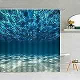 XCBN Unterwasser Strand Landschaft Duschvorhang Delphin Meeresschildkröte Wal Welle Tierlandschaft Badezimmer Dekoration Haken Vorhang A9 180x200cm