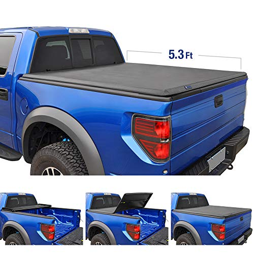 Tyger Auto T3 Tri-Fold Truck Tonneau Cover TG-BC3D1013 Works with 2005-2011 Dodge Dakota 2006-2008 Mitsubishi Raider | Fleetside 5.3' Bed | Fit Models Without Utility Track System,Black